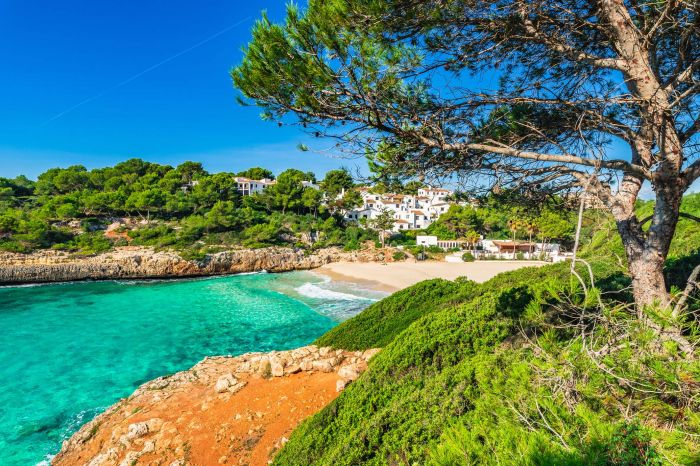 Beautiful view of mediterranean bay beach with turquoise sea wat