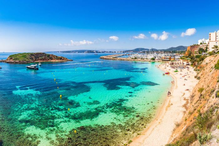 Beautiful view of Puerto Portals Nous beach bay on Majorca Spain